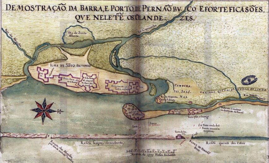 carta de teixeira albernaz, o moço, 1640, mostrando as fortificações de Pernambuco na ocupação holandesa
