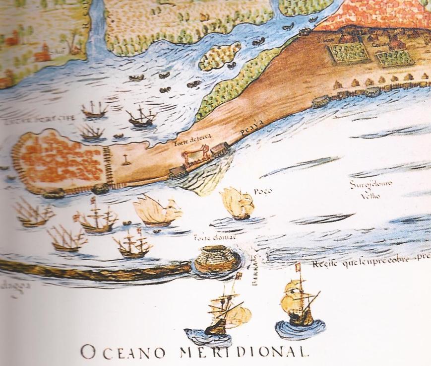mapa de Teixeira Albernaz o Velho de 1616 mostrando o forte do picao em cima das pedras