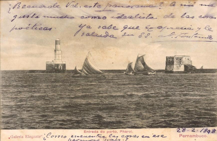 postal de 1898 mostrando o farol e o forte com jangadas à frente